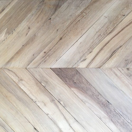 Reclaimed Resawn Beam Oak Chevron Flooring
